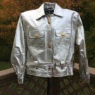 Metallic Silver with Brass accents Leather Bomber Style Jacket - Size 18 - VERY UNIQUE!