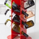 WineO Mid-Rise 750 - Contemporary Modern Red Metal 6 Bottle Freestanding Wine Rack!