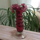Vintage Cranberry Glass Hand Blown Vase with Applied Spiral Band and Ruffle Top!