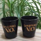 Vintage Seagrams V.O. Whiskey Shot Glass - Black Amethyst & Gold - Set of 2!