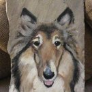 """Beautifully Hand Painted Rough Collie Dog on 19"""" x 11"""" Stone - signed Claire B!"""