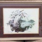 Vintage 'American Egret' Print by James Lockhart, Northern American Wildlike 1979 - Framed!
