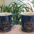 Disneyland 3D 'Cinderella's Castle' w/ Tinkerbell Heavy Ceramic Coffee Cup Mugs 12 oz - Set of 2