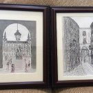 Pair of Original Architecteral Ink Drawings, Matted and Professionally Framed - Signed by Artist!