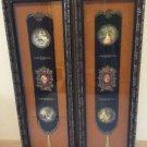 Mid Century Gold Velvet Large Shadowbox -Courting Couple Porcelain Medallion & Satin Medallion-Pair!