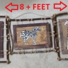 Set of 5 Hand Made Twig Wood & Juke Framed Hand Painted 3D Animal Pictures - Made in Philippines!
