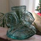 Amici Carousel Rocking Horse Green Thick Glass Bottle Jar Canister Mason Jar - Made in Italy!