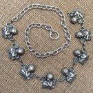 """Victorian Cherubs Angels Silvertone Link Waist Chain Belt - Adjustable to 38""""!"""
