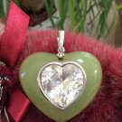 Large Sterling Silver Heart Shaped Green Tourmaline Enhancer Pendant with Rhinestone Heart Center!