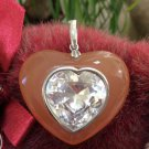 Large Sterling Silver Heart Shaped Pink Tourmaline Enhancer Pendant with Rhinestone Heart Center!