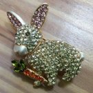 Sparkling Bunny Rabbit Pin with Pink Ears and Orange Green Carrot - Rhinestone & Enamel!
