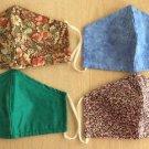 Lot of 4 Handmade Cloth Adult Face Masks - Elastic Earloops!
