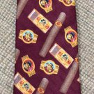 Vintage Silk Cigar Theme Necktie, Bulldog Labels Novelty 1980's, The Good Life by Russ Beerie