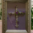 Paper Quilled Handmade Cross Wall Decor, Paper Filigree Cross with Purple Flower accents - Framed!