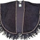 GOA Paris Women's Navy Faux Suede Kimono Cape Fringed Cover up Shawl - NWTS!