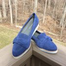 Aerosoles Women's Navy Blue Suede Sidewalk Loafer Shoes with Bow Accent - Size 8.5!