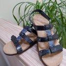 Vionic Rest Amber Adjustable - Navy Croc Patent Beaded Triple Strap Sandals Size7M!