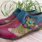 Socofy Oxford Leather Shoes, Handmade Printing Splicing Plant Pattern Hook Loop Shoes - Size 40!