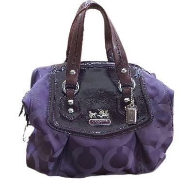 COACH Madison Audrey OP ART Eggplant Luxey Jacquard with Leather Trim Satchel Handbag #F0969-14294!