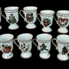 Domestications 12 Twelve Days of Christmas Footed Pedestal Mugs - Complete Set from 1994!