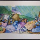 Bunny Nap Watercolor Colored Pencil Painting Print by Paige Miglio, Childrens Book Illustrator!