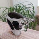 Unique Murano Italian Art Glass Black & White Holstein Cow Figurine Paperweight!