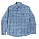 LL Bean Men's Blue Gray Plaid 100% Cotton, Sherpa-Lined Shirt with Snap Front & Cuffs - Size S!