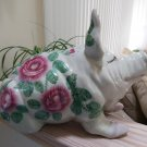 WEMYSS WARE Style Pottery Pig with Cabbage Roses and Bee - 15''Long!