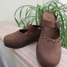 Mephisto Mobils Sabatina Brown Nubuck Perforated Mary Jane Slip-On Clogs Shoes 37!
