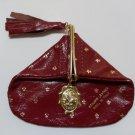 Firenze Italian Leather Coin Purse, Burgundy w/ Gold Fleur-de-lis, Sliding Snap - NWOT!