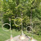 Vintage Decoupage Brass Tapered Bugle Candle Holders - Faux Horn Candlestick Set!