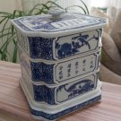 Vintage Chinese Blue & White Porcelain 4 Tier Stacking Square Food Box!