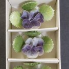 Vintage Porcelain Forget Me Not Purple Floral Placecard Holders - Set of 6 - Made in Japan!