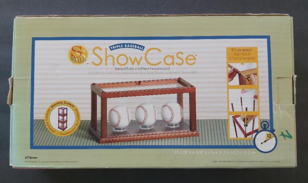 Style Studio Triple Baseball Memorabilia Display ShowCase - Solid Hardwood & Acrylic #2 - NIB!