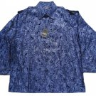 Pronti Collection by Phita Men's Metallic Embossed Cotton/Linen Shirt Adult 3XL Navy Paisley - NWT!