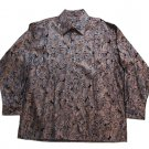 Pronti Collection by Phita Men's Metallic Embossed Cotton/Linen Shirt Adult 3XL Copper Paisley-NWOT!
