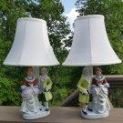 Vintage Andrea Sadek Japan Porcelain Figural Boudoir Table Lamps w/ Shades - PAIR!