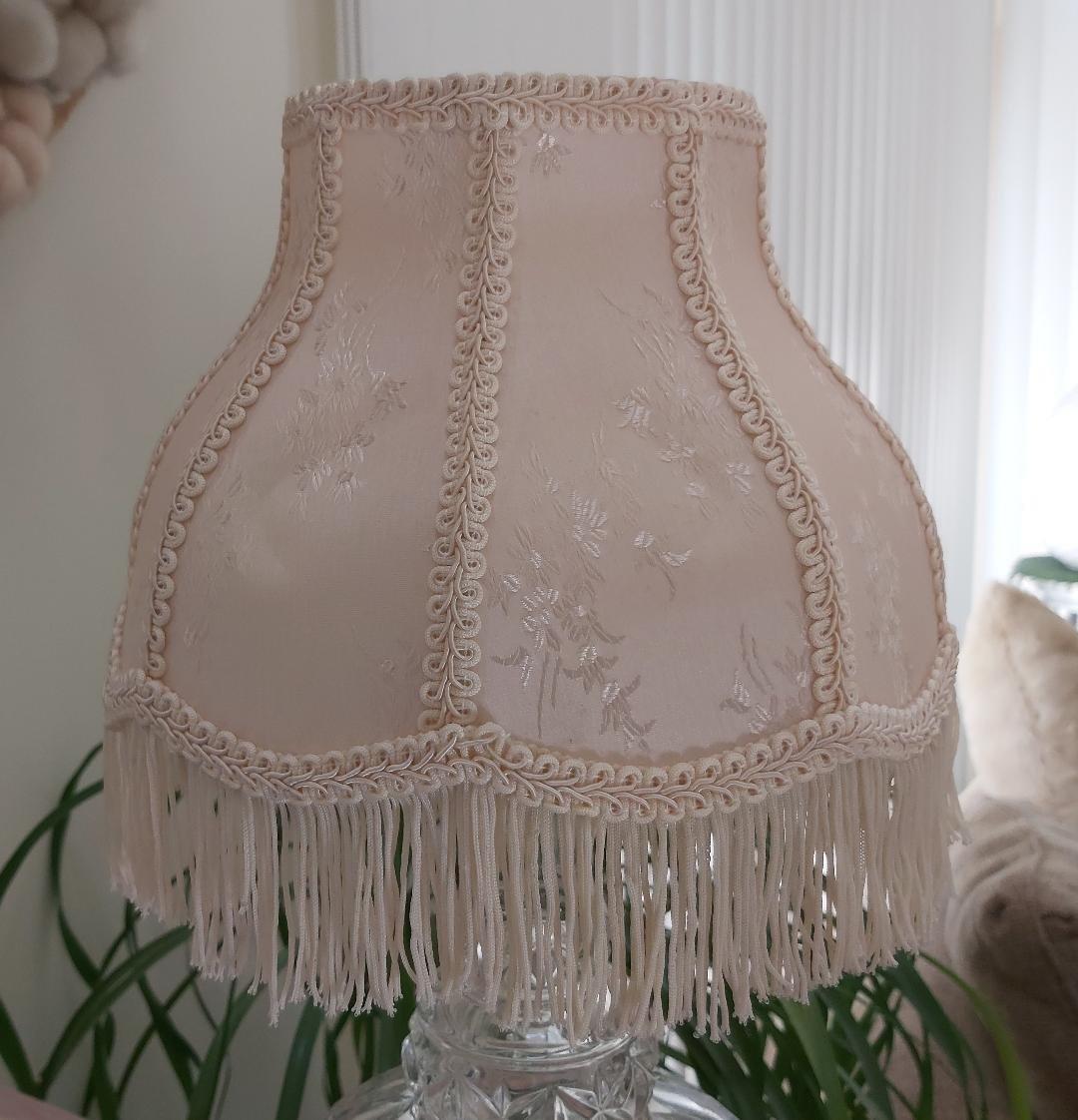 Cream Scallop Dome Lampshade with Fringe 5¼ x 9½ x 7 x 4½ (Slip UNO Fitter)!