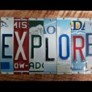 'EXPLORE' Sign made with repurposed License Plates on Wood Wall Art!
