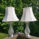 Mid 20th Century French Style Cut Crystal w/ Silverplate Trim Table Lamps - Pair - Berger Harp!