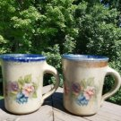 Monroe Salt Works of Maine Stoneware Pottery Salt Glaze 8 ounce Mugs - FLOWERS - Set of 2!