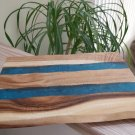 """River of Blue Cutting Board (Large) - Wood & Turquoise Resin - 15""""  x  11"""""""