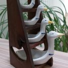 Vintage 1980s Avon Geese Ducks Farmhouse Measuring Spoons Set with Wooden Ladder!