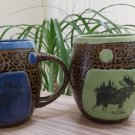 Always Azul Pottery Moose Mug with Spoon Holder Handle - Set of 2!