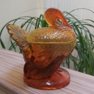 Vintage L.E. Smith Amber Pressed Glass Turkey Covered Dish!