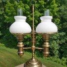 Vintage Double Brass Parlor Banquet 2 Way Hurricane Milk Glass Student Lamp!