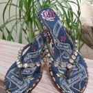 Beverly Feldman 'Too Much Is Not Enough' Rhinestone Thong Sandals Kitten Heels -Size EUR 37/38 US 7!