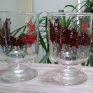 Vintage Budweiser Champion Clydesdales Horses Pedestal Beer Glass - Set of 2!