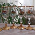 Vintage 'Pisa' Gold Leaf Stemmed Crystal Cordial Liqueur Glasses - Set of 6 - Made in Italy!