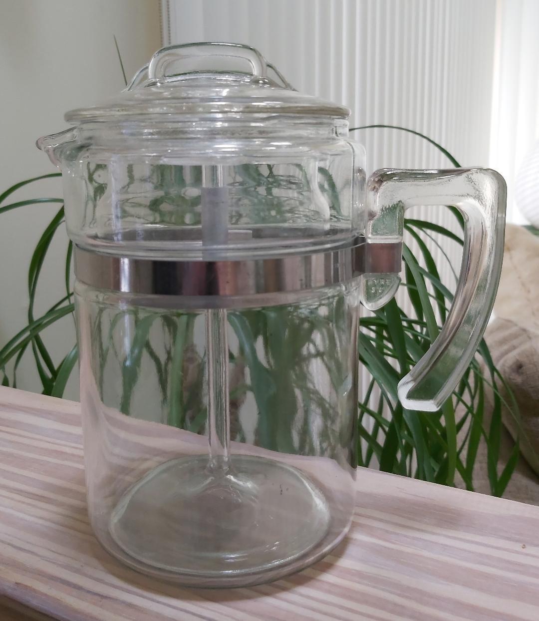Vintage Pyrex 6 Cup Stove Top Flameware Percolator Coffee Pot Model 7826-B - COMPLETE - SUPER CLEAN!